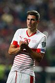 switzerlands defender fabian schar applauds supporters