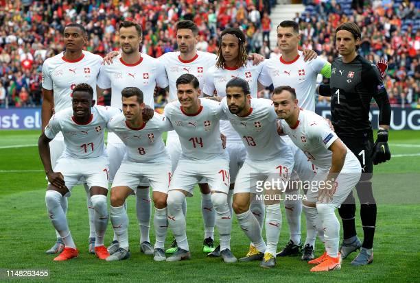 Switzerland's defender Manuel Akanji forward Haris Seferovic defender Fabian Schar defender Kevin Mbabu midfielder Granit Xhaka goalkeeper Yann...