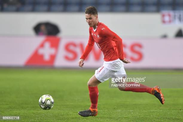 Switzerland's defender Nico Elvedi controls the ball during the international friendly football match between Switzerland and Panama in Lucerne on...