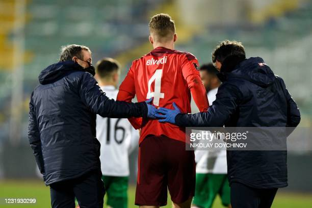 Switzerland's defender Nico Elvedi leaves the pitch during the FIFA World Cup Qatar 2022 Group C qualification football match between Bulgaria and...