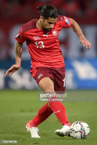 Switzerland's defender Ricardo Rodriguez controls the ball during FIFA World Cup Qatar 2022 qualification football match between Switzerland and...