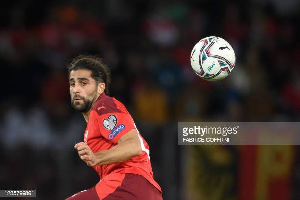 Switzerland's defender Ricardo Rodriguez controls the ball during the FIFA World Cup 2022 Group C qualification football match between Switzerland...