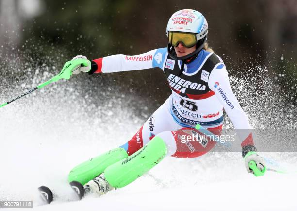 Switzerland's Denise Feierabend clears a gate during the first run of the FIS Slalom ski event Snow Queen Trophy 2018 on Sljeme mountain some 10 kilo...