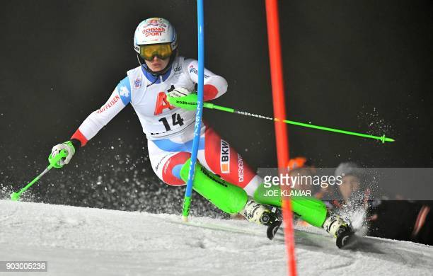 Switzerlands Denise Feierabend competes during the first run at the ladies world cup slalom in Flachau Austria on January 9 2018 / AFP PHOTO / JOE...