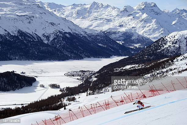 Switzerland's Denise Feierabend competes during the FIS Alpine World Cup Women's Super Combined and takes the 6th place on January 27 2012 in...