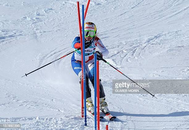 Switzerland's Denise Feierabend competes during the FIS Alpine World Cup Women's Combined event on January 29 2012 in StMoritz AFP PHOTO / OLIVIER...