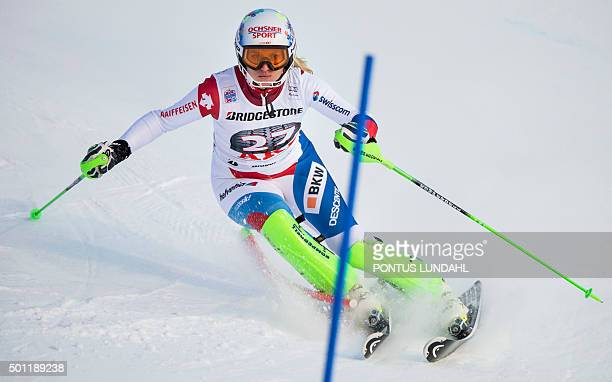 Switzerland's Denise Feierabend competes during the womens World Cup slalom event in Are Sweden December 13 2015 AFP PHOTO / TT NEWS AGENCY / PONTUS...