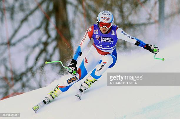 Switzerland's Denise Feierabend competes in the slalom race as part of the Women's Super Combined event of the FIS World Cup held in Altenmarkt...