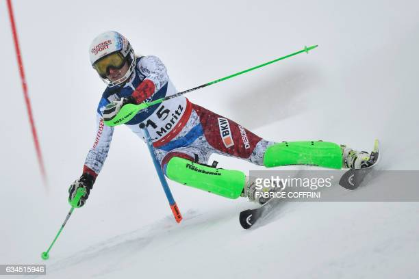 Switzerland's Denise Feierabend competes in the slalom race of the women's Alpine Combined event at the 2017 FIS Alpine World Ski Championships in St...