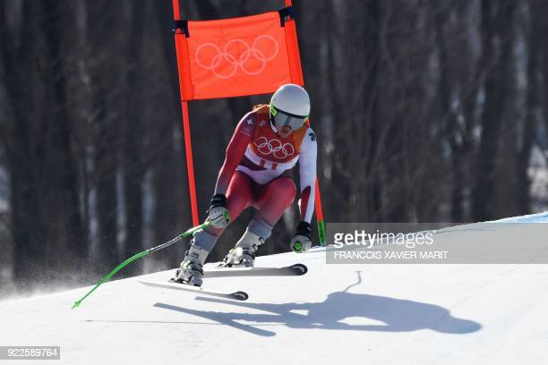 Switzerland's Denise Feierabend competes in the Women's Alpine Combined Downhill at the Jeongseon Alpine Center during the Pyeongchang 2018 Winter...