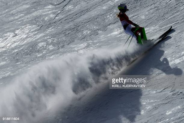 Switzerland's Denise Feierabend competes in the Women's Slalom at the Jeongseon Alpine Center during the Pyeongchang 2018 Winter Olympic Games in...