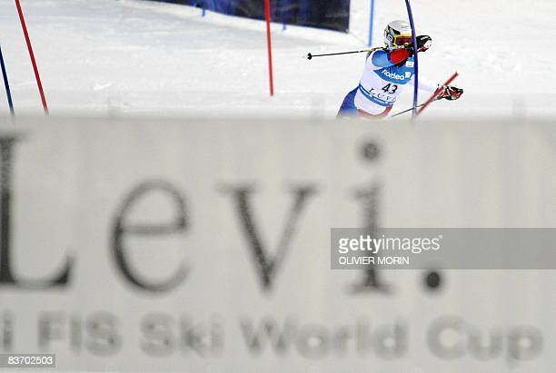 Switzerland's Denise Feierabend competes to take the 13th place of the women's slalom race during the FIS World Cup in Levi on November 15 2008...