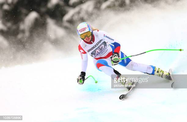 Switzerland's Denise Feierabend in action during the women's Downhill training at the Alpine Skiing World Cup in GarmischPartenkirchen Germany 04...