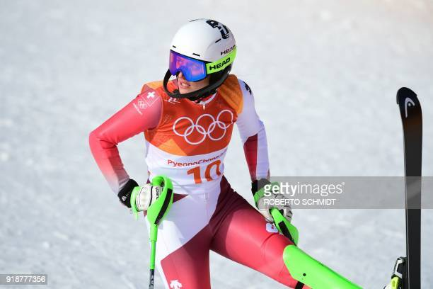 Switzerland's Denise Feierabend reacts after competing in the Women's Slalom at the Jeongseon Alpine Center during the Pyeongchang 2018 Winter...