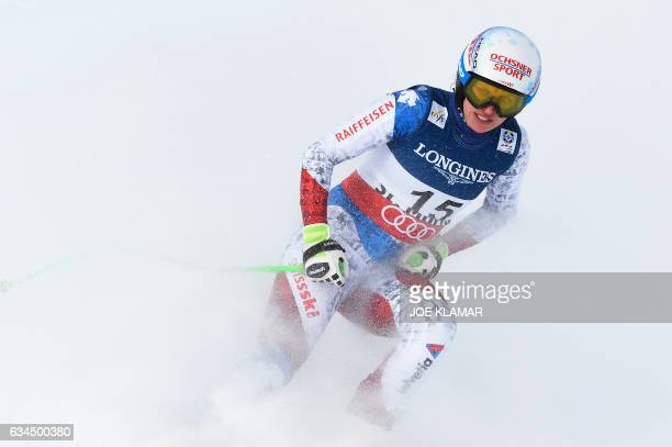 Switzerland's Denise Feierabend reacts in the finish area of the downhill race of the women's Alpine Combined event at the 2017 FIS Alpine World Ski...