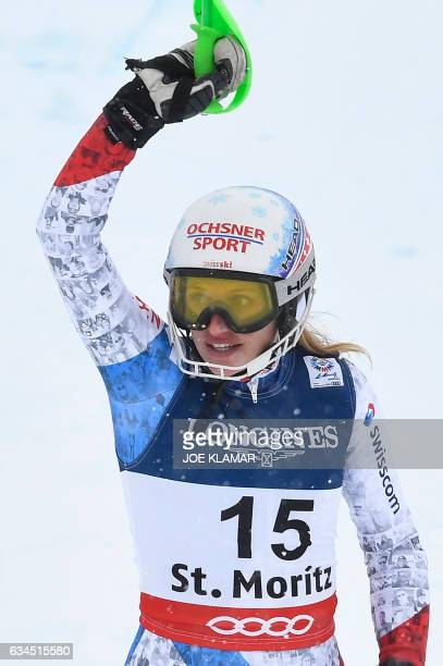 Switzerland's Denise Feierabend reacts in the finish area of the slalom race of the women's Alpine Combined event at the 2017 FIS Alpine World Ski...
