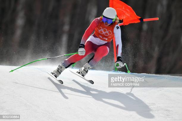 Switzerland's Denise Feierabend takes part in the 2nd training of the Alpine Skiing Women's Downhill at the Jeongseon Alpine Center during the...