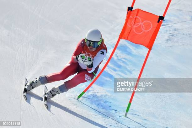 Switzerland's Denise Feierabend takes part in the 3rd training of the Alpine Skiing Women's Downhill at the Jeongseon Alpine Center during the...