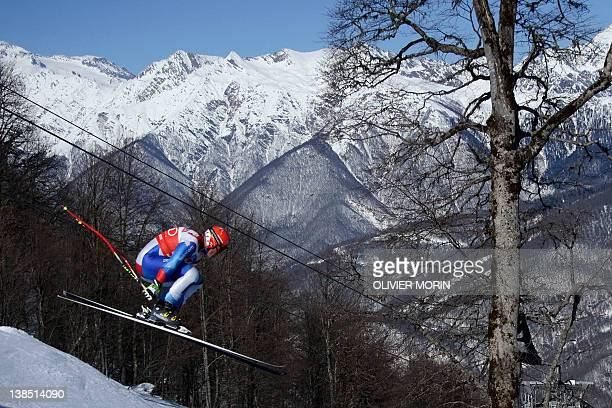 Switzerland's Didier Cuche skis past during the first training of the Men's World Cup Downhill on February 8 2012 in the Rosa Khutor Mountain Resort...