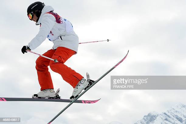 Switzerland's Eveline Bhend competes in the Women's Freestyle Skiing Slopestyle qualification at the Rosa Khutor Extreme Park during the Sochi Winter...