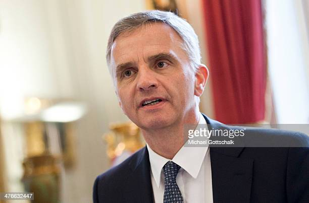 Switzerlands Foreign Minister Didier Burkhalter during a meeting with German Foreign Minister FrankWalter Steinmeier on March 04 2014 in Bern...