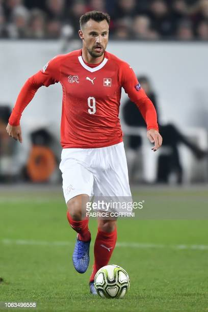 Switzerland's forward Haris Seferovic controls the ball during the UEFA Nations League league A group 2 football match between Switzerland and...