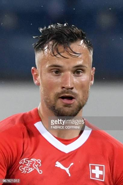 Switzerland's forward Haris Seferovic controls the ball during the international friendly football match between Switzerland and Panama in Lucerne on...