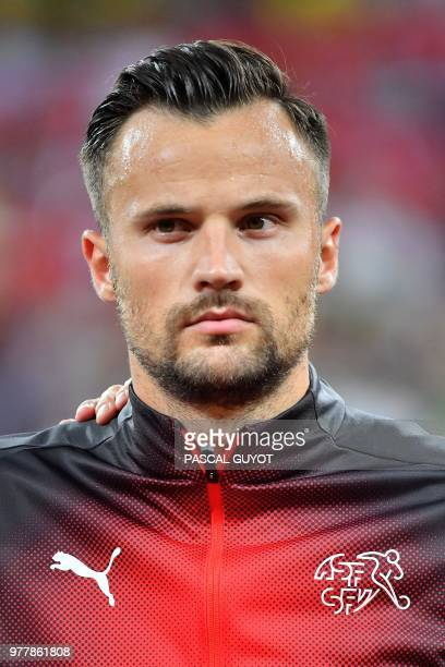 Switzerland's forward Haris Seferovic poses before the Russia 2018 World Cup Group E football match between Brazil and Switzerland at the Rostov...