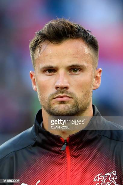 Switzerland's forward Haris Seferovic poses for a photo before their Russia 2018 World Cup Group E football match between Serbia and Switzerland at...