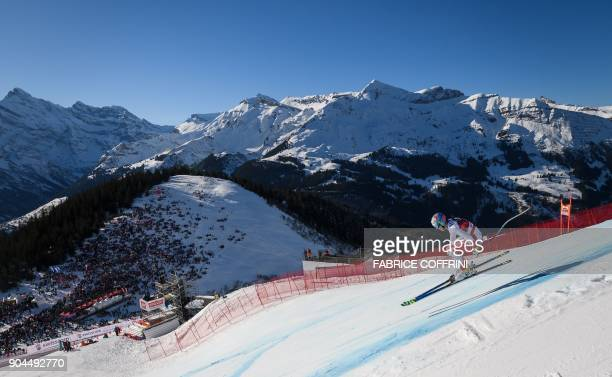 Switzerland's Gian Luca Barandun competes in the Downhill race at the FIS Alpine Skiing World Cup in Wengen on January 13 2018 / AFP PHOTO / Fabrice...