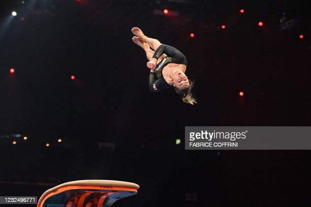 Switzerland's Giulia Steingruber competes in the Women's vault apparatus final of the 2021 European Artistic Gymnastics Championships at the St...