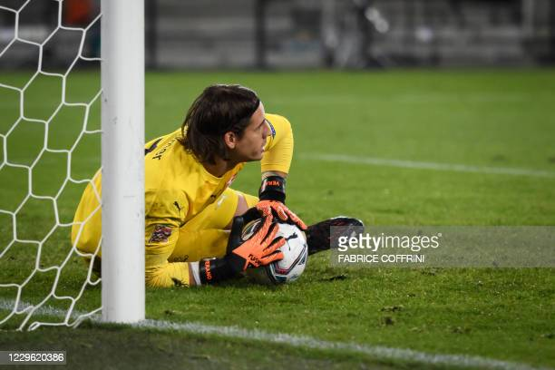 Switzerland's goalkeeper Yann Sommer reacts after saving a penalty kick during the UEFA Nations League football match between Switzerland and Spain...