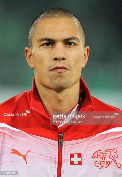 Switzerland's Gokhan Inler listens to the national anthems ahead of the World Cup 2010 friendly football match Switzerland vs Uruguay at AFG Arena...