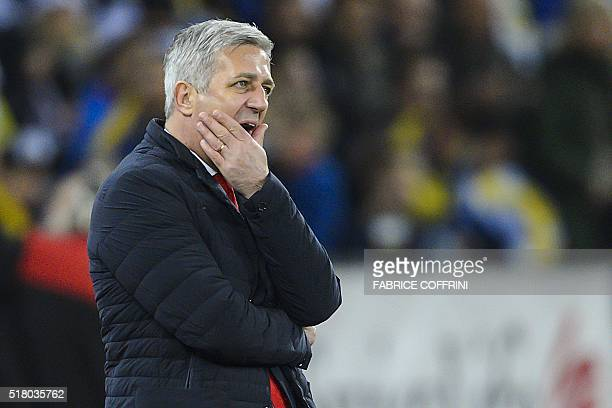 Switzerland's head coach Vladimir Petkovic gestures during the friendly football match between Switzerland and BosniaHerzegovina on March 29 2016 at...