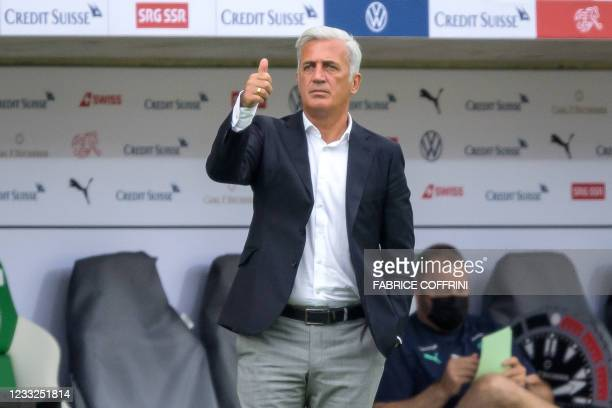 Switzerland's head coach Vladimir Petkovic gives a thump up during a friendly football match between Switzerland and Liechtenstein at Kybunpark...