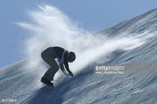 TOPSHOT Switzerland's Isabel Derungs falls in a run of the women's snowboard slopestyle final event at the Phoenix Park during the Pyeongchang 2018...