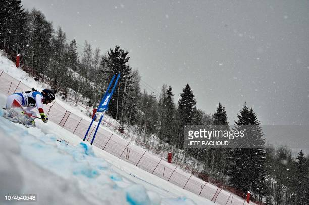 Switzerland's Jasmina Suter competes in the FIS Alpine World Cup Women Giant Slalom on December 21 2018 in Courchevel French Alps