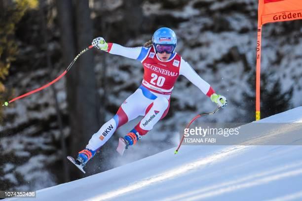 Switzerland's Jasmine Flury competes during the FIS Alpine World Cup Women Downhill on December 18 2018 in Val Gardena Groeden Italian Alps