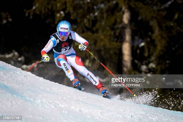 Switzerland's Jasmine Flury competes during the Women's Downhill event at the FIS Alpine Ski World Cup in Crans-Montana, Switzerland, on January 22,...