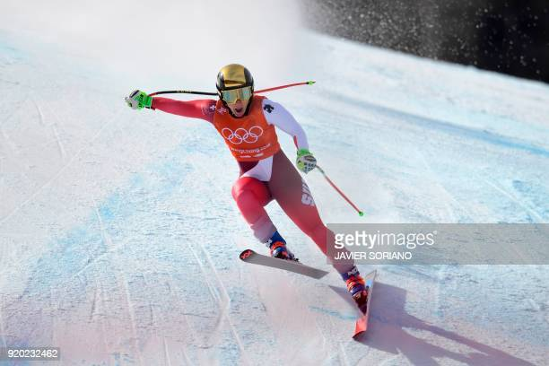TOPSHOT Switzerland's Joana Haehlen takes part in the 2nd training of the Alpine Skiing Women's Downhill at the Jeongseon Alpine Center during the...