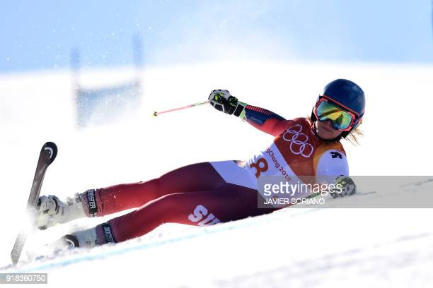 TOPSHOT Switzerland's Lara Gut falls as she competes in the Women's Giant Slalom at the Yongpyong Alpine Centre during the Pyeongchang 2018 Winter...
