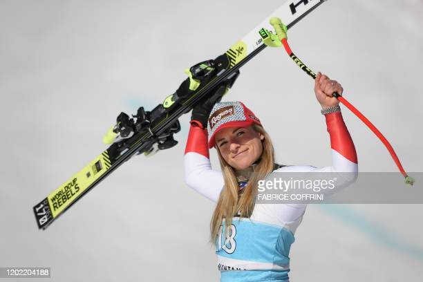 Switzerland's Lara Gut-Behrami celebrates during the podium ceremony after winning in the Women's downhill race during the FIS Alpine Ski World Cup...