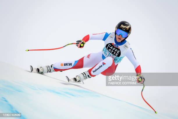 Switzerland's Lara Gut-Behrami competes during the Women's Downhill event at the FIS Alpine Ski World Cup in Crans-Montana, Switzerland, on January...