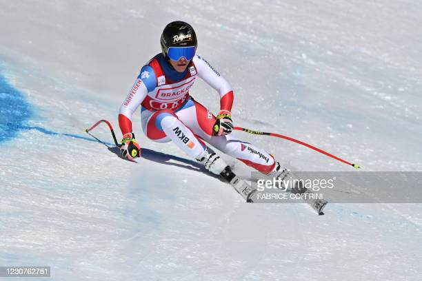 Switzerland's Lara Gut-Behrami competes during the Women's Super G event at the FIS Alpine Ski World Cup in Crans-Montana, Switzerland, on January...