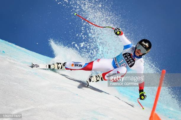 Switzerland's Lara GutBehrami competes in the Women's downhill race during the FIS Alpine Ski World Cup in CransMontana on February 21 2020