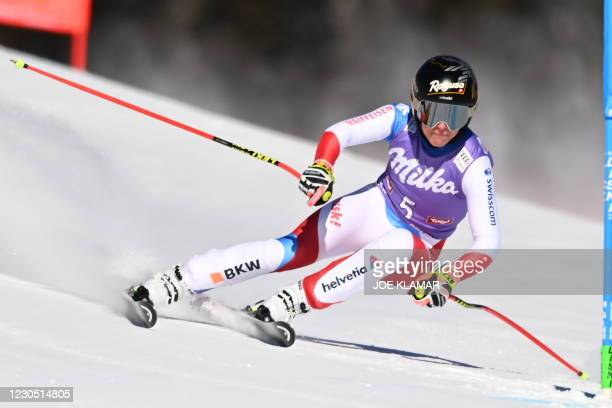 Switzerland's Lara Gut-Behrami competes to win the women's Super G event of the FIS Alpine Ski World Cup on January 10 in St Anton, Austria.
