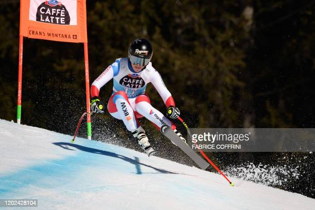 Switzerland's Lara Gut-Behrami during the women's downhill at the FIS Alpine Ski World Cup in Crans-Montana on February 22, 2020.