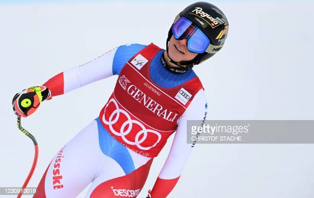 Switzerland's Lara Gut-Behrami reacts in the finish after her run during the Women's Super-G event at the FIS Alpine Ski World Cup in...
