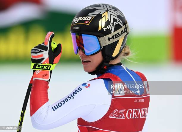 Switzerland's Lara Gut-Behrami reacts in the finish area after her run during the women's Super G event of the FIS Alpine Ski World Cup in...