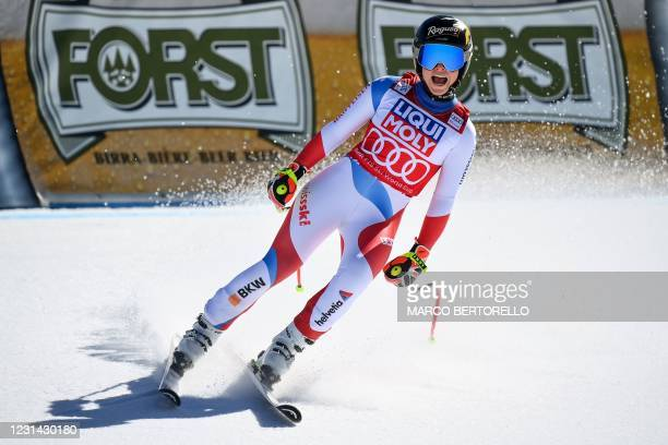 Switzerland's Lara Gut-Behrami reacts in the finish area during the FIS Alpine Ski Women's World Cup Super G event, in Val di Fassa, northern Italy...